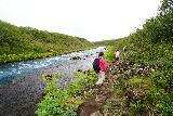 Bruarfoss_091_08062021 - The Brúarfoss hike continued skirting alongside the Brúará River between Hlauptungufoss and Miðfoss