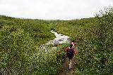 Bruarfoss_140_08062021 - Tahia and Julie continuing to hike towards Bruarfoss along the mostly flat trail