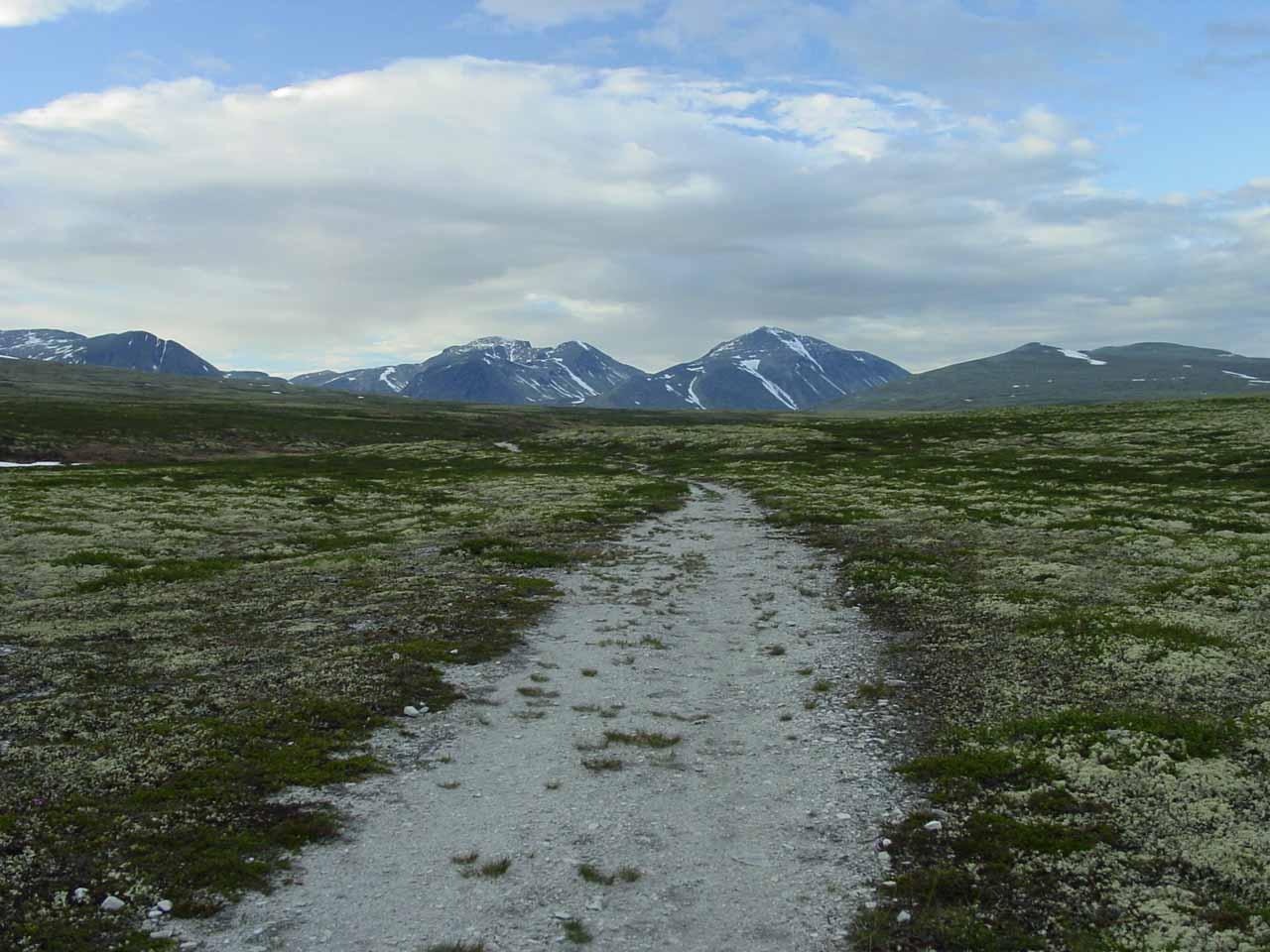 Hiking amidst the wide open plateau and tundra of Rondane Nasjonalpark