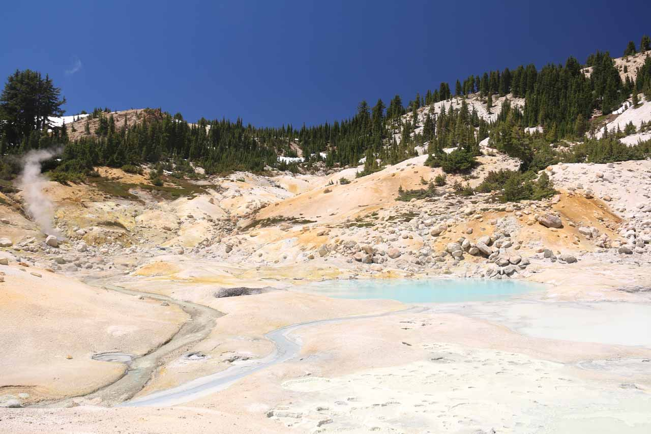 Further west of Kings Creek was the trail to Bumpass Hell, which was Lassen Park's signature attraction, as it featured a colorful geothermal basin accessible by a 1.5-mile (3-mile round trip) hike