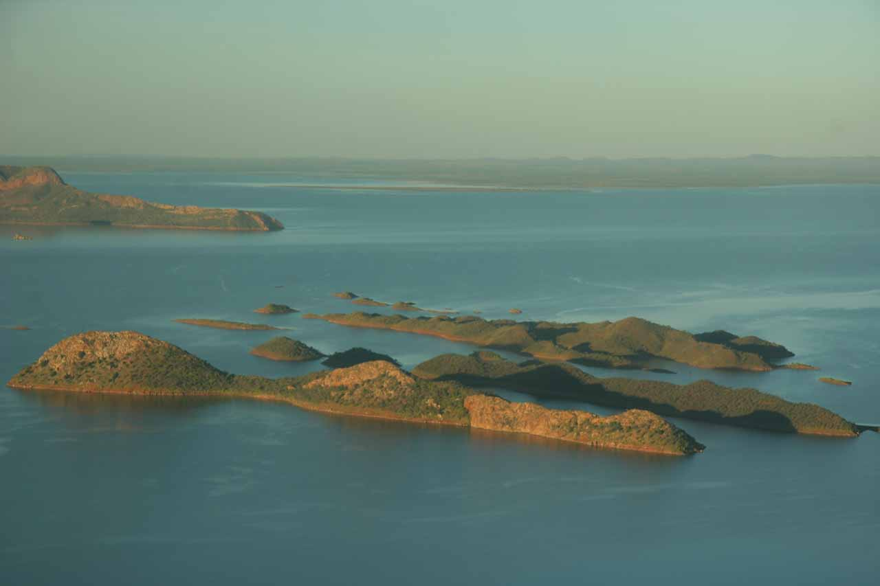 Looking over some islands on the reservoir held up by the dam holding up the Ord River