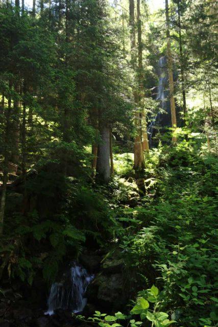 Burgbach_Waterfall_027_06222018 - Looking towards the Burgbach Waterfall from a footbridge revealing an intermediate cascade