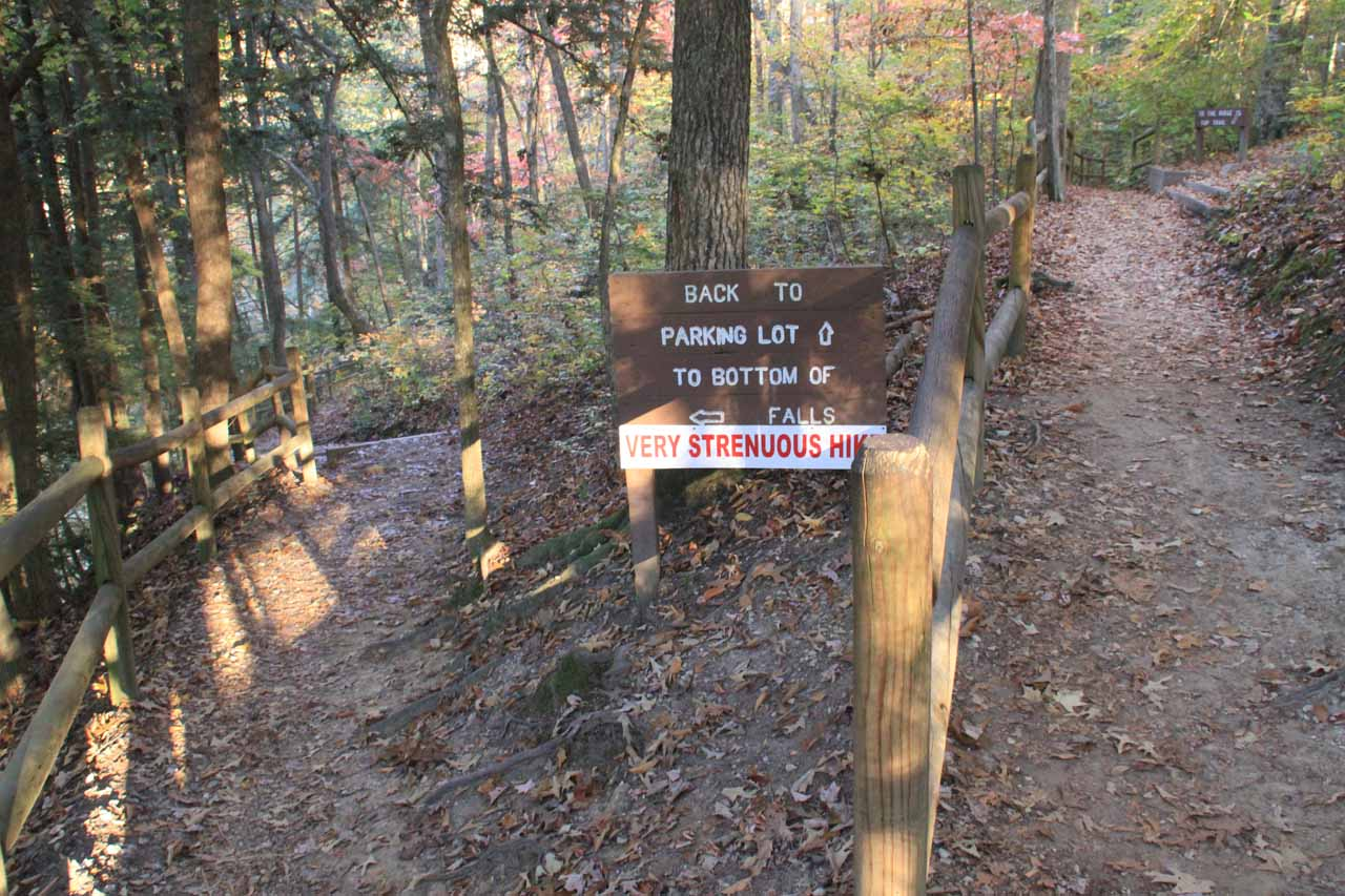 Sign at the start of the final descent to the base of Burgess Falls