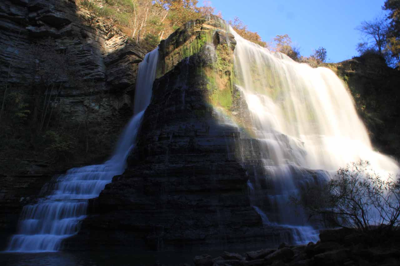 The base of Burgess Falls in afternoon light