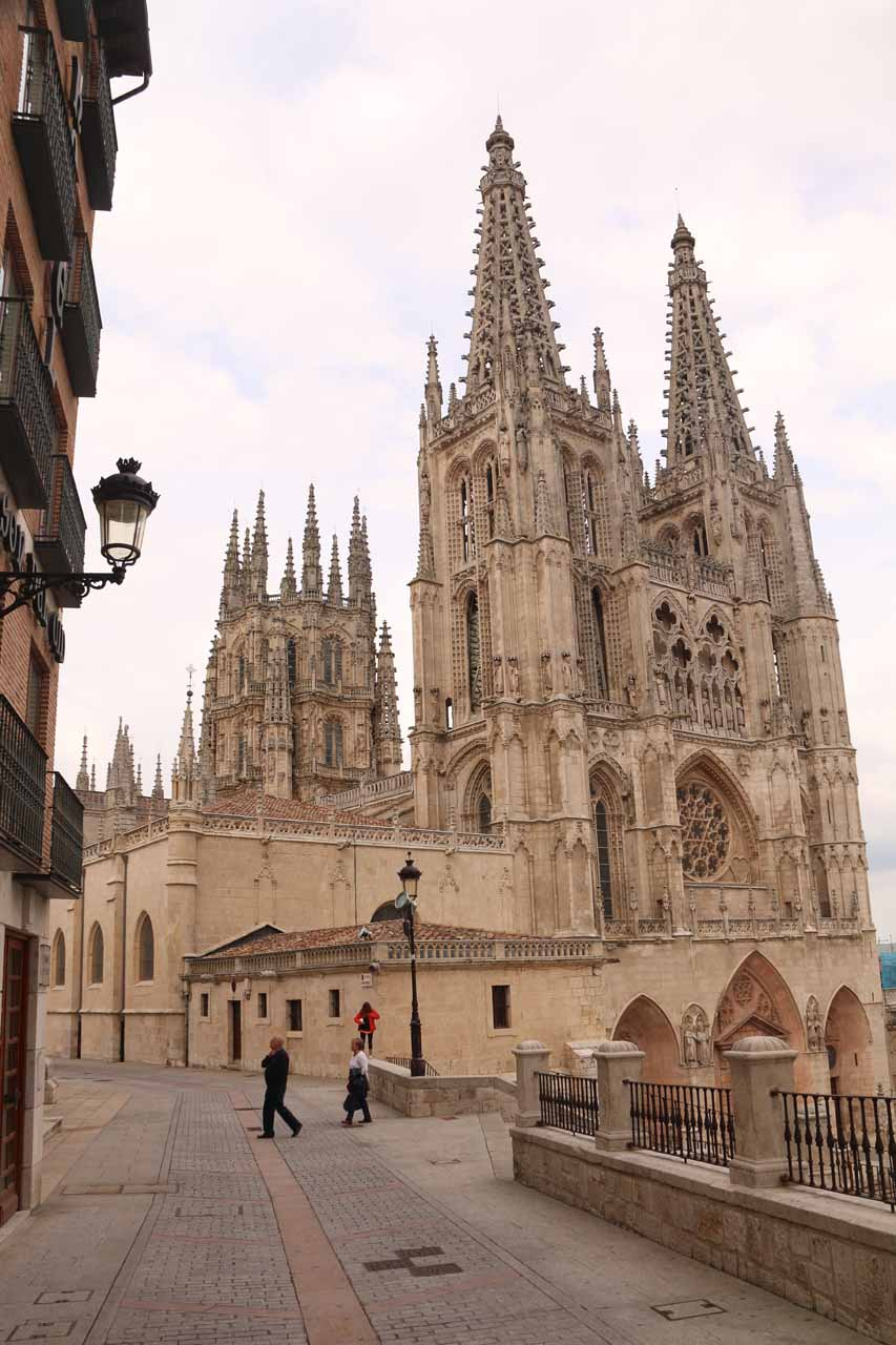 Looking towards the impressive Burgos Cathedral as we were in the process of checking in