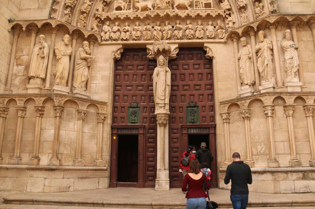 About to enter the Burgos Cathedral