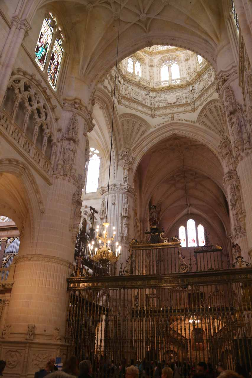 Inside the mostly bright and grand Cathedral in Burgos