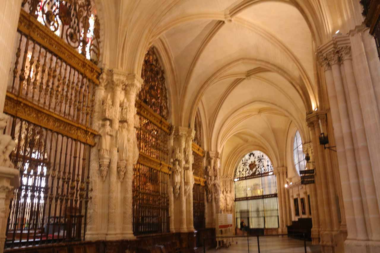 Looking towards one of the grand archways within the Burgos Cathedral