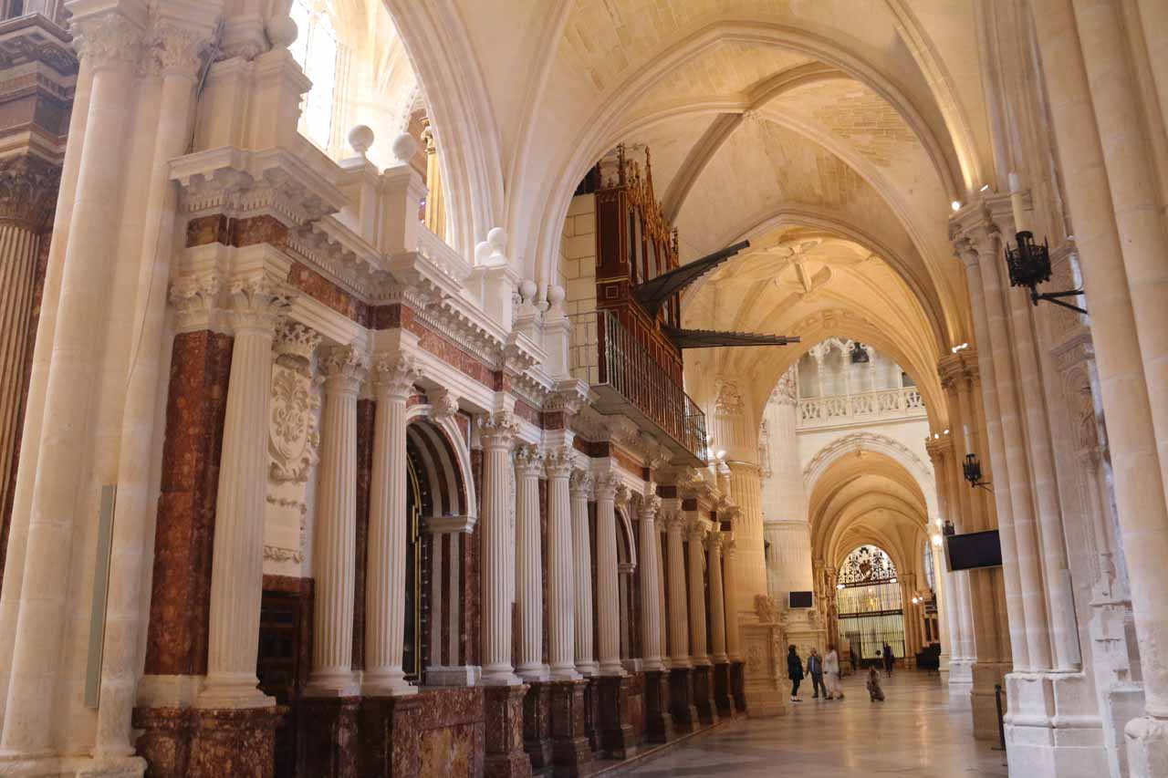 Looking in the opposite direction towards more of the grand archways within the Burgos Cathedral