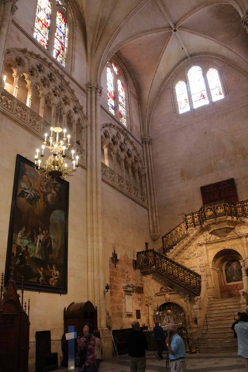 Looking towards some so-called golden stairs within the Burgos Cathedral