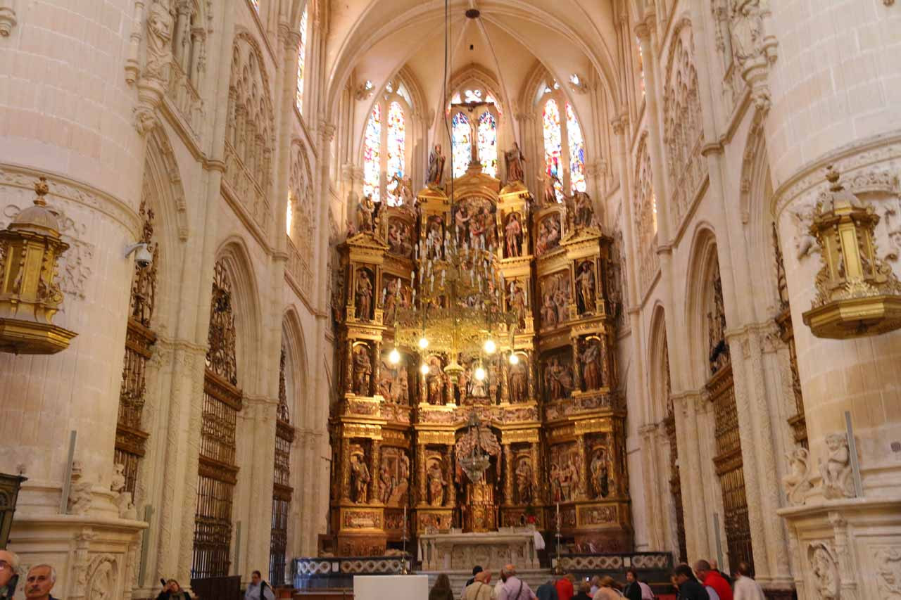 Looking towards the main altar of the Burgos Cathedral