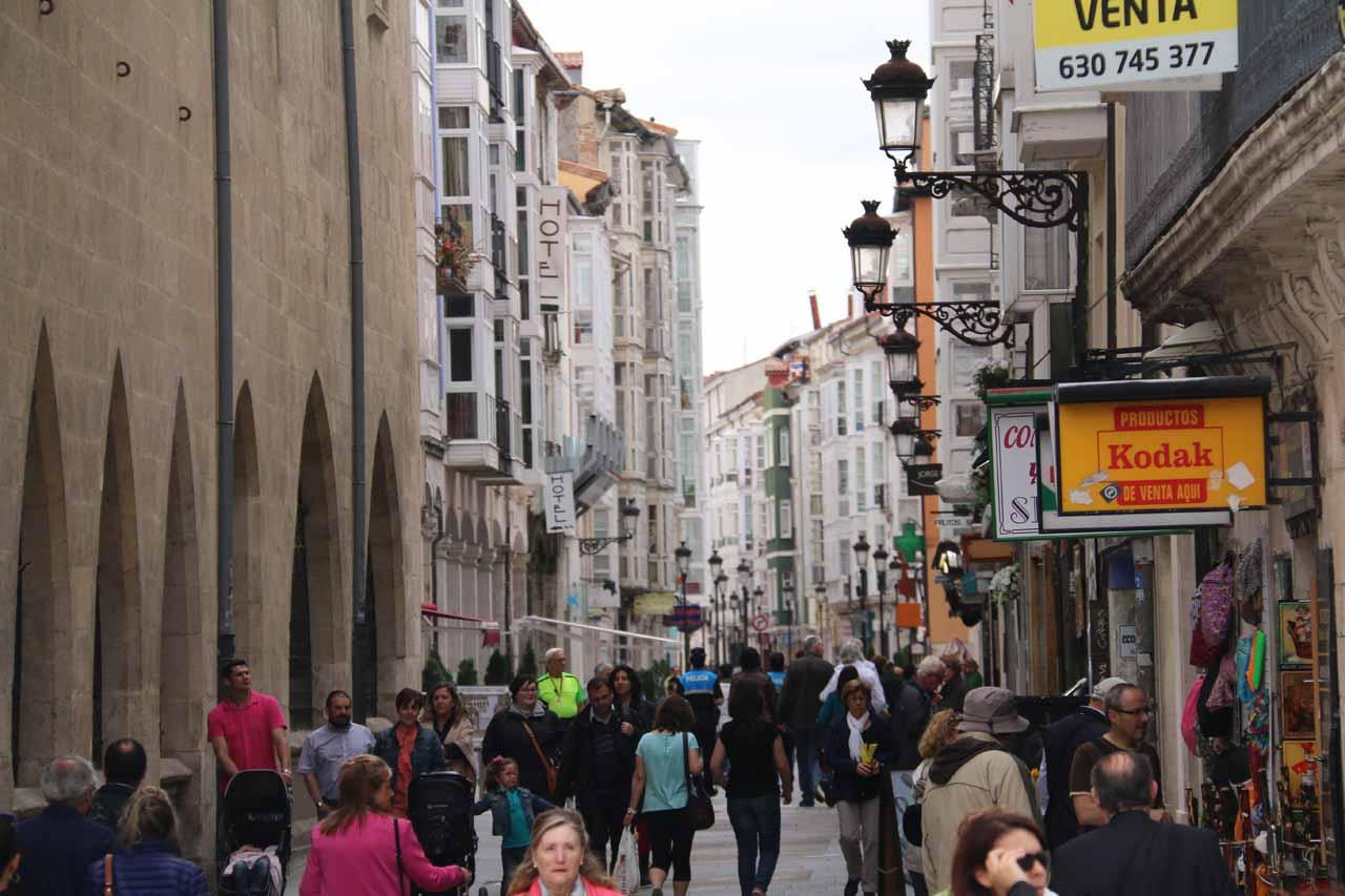 Looking at the busy Calle de la Virgen de la Paloma after we had left the Burgos Cathedral