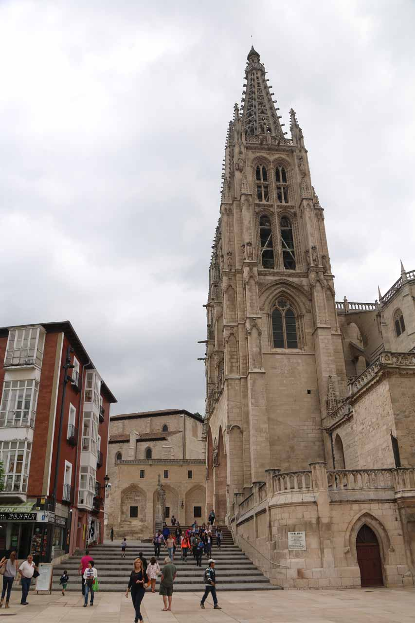 Looking towards one of the twin spires of the Burgos Cathedral from Plaza del Rey San Fernando