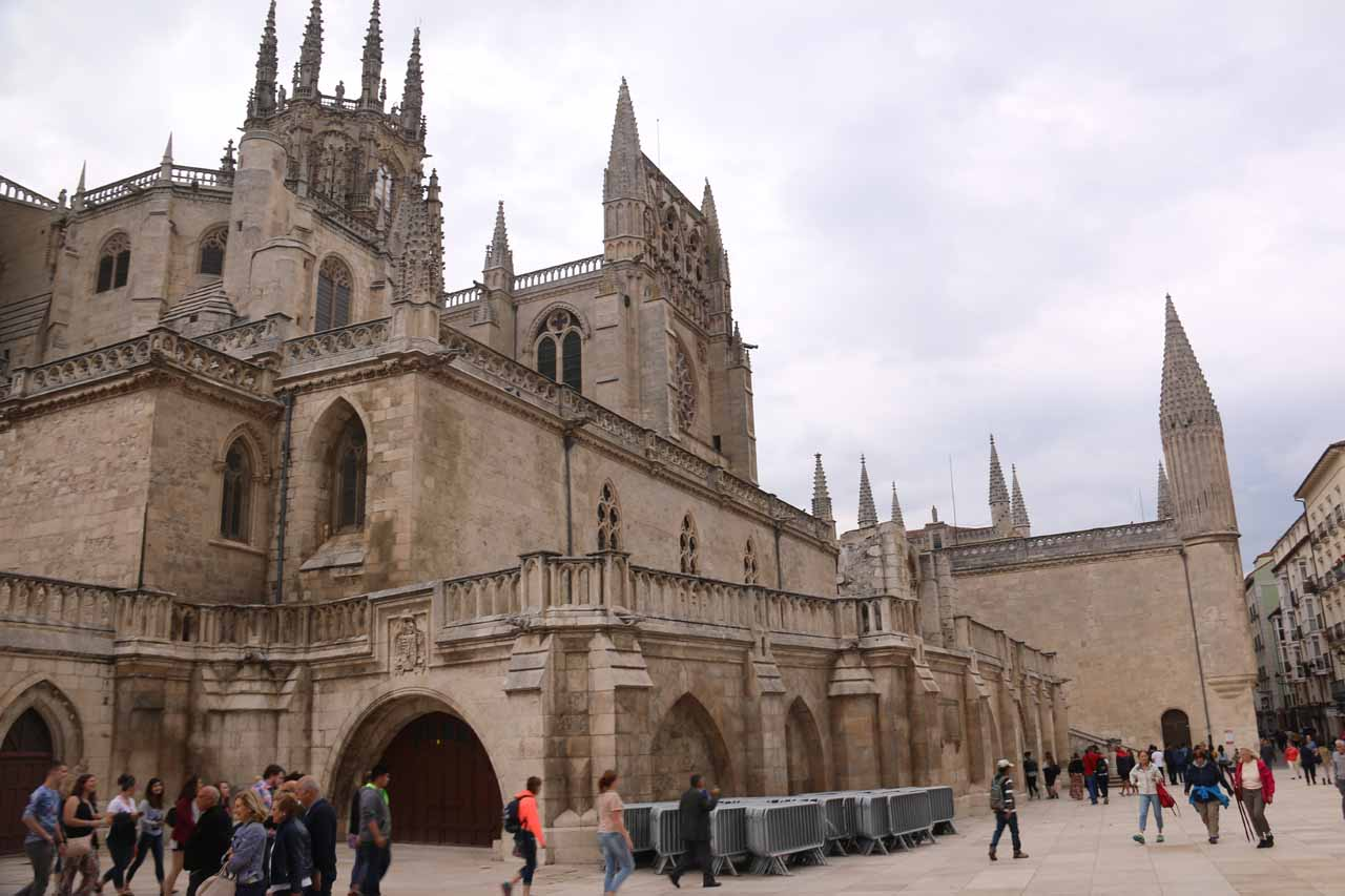 Looking back at the Burgos Cathedral across the Plaza del Rey San Fernando