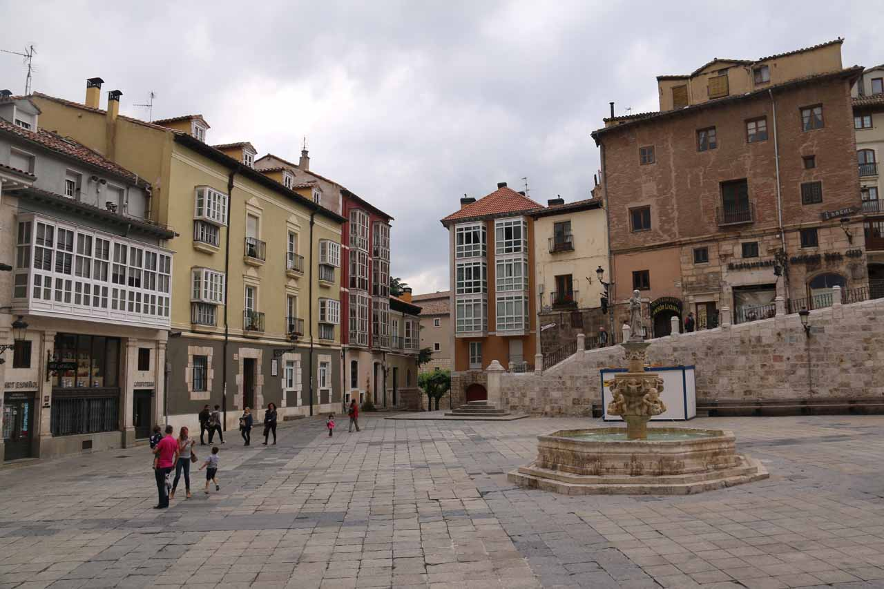 Looking across the Plaza de Santa Maria as we were headed back to our room by the Burgos Cathedral