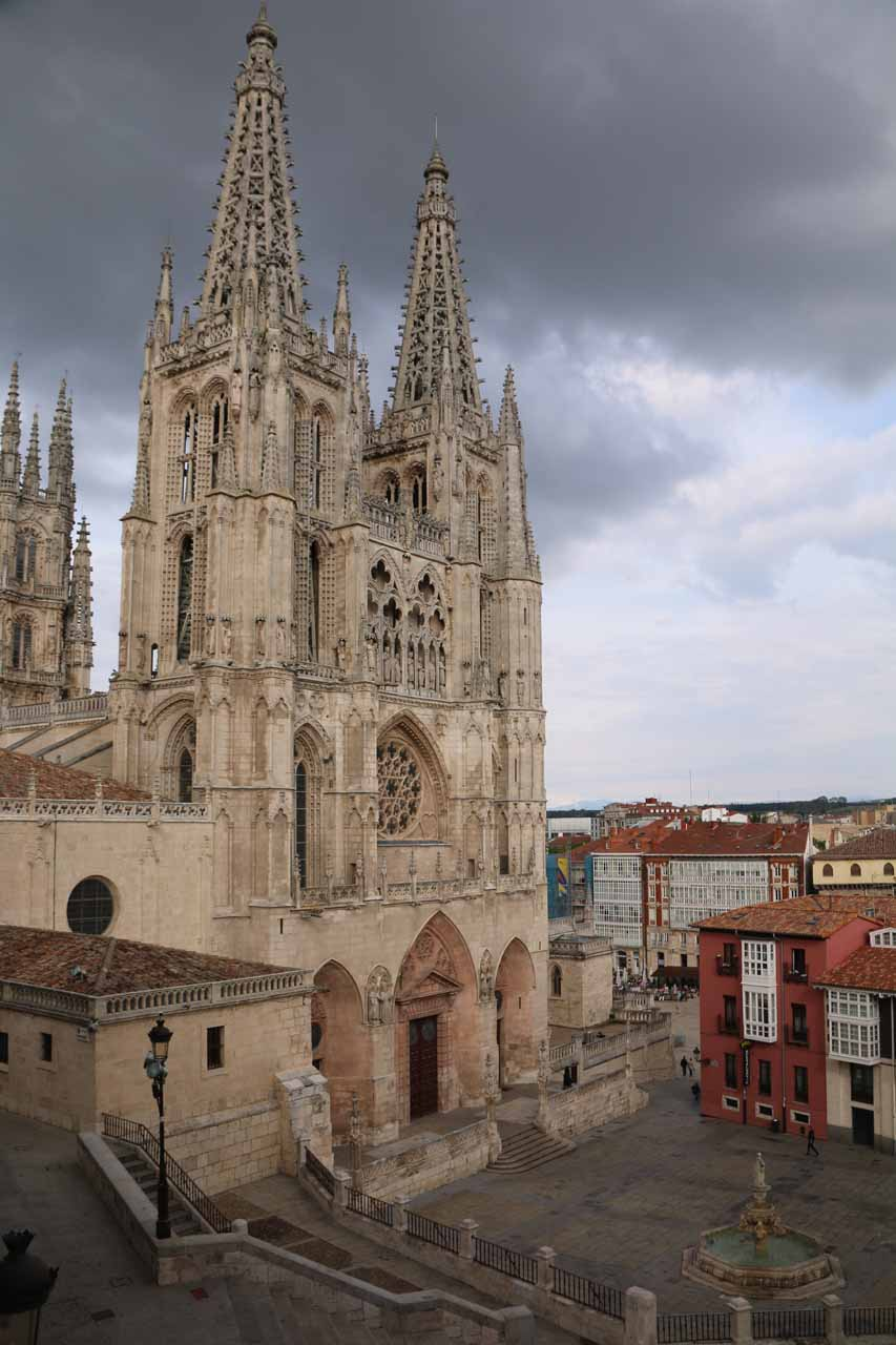 Looking towards the Burgos Cathedral and the Plaza de Santa Maria from our room as it was threatening rain