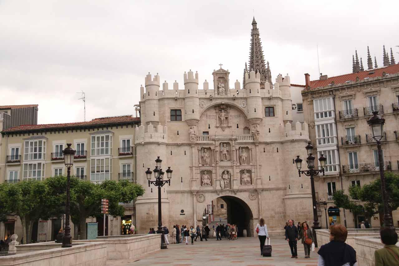 Looking back towards the Arco de Santa Maria from the Puente de Santa Maria