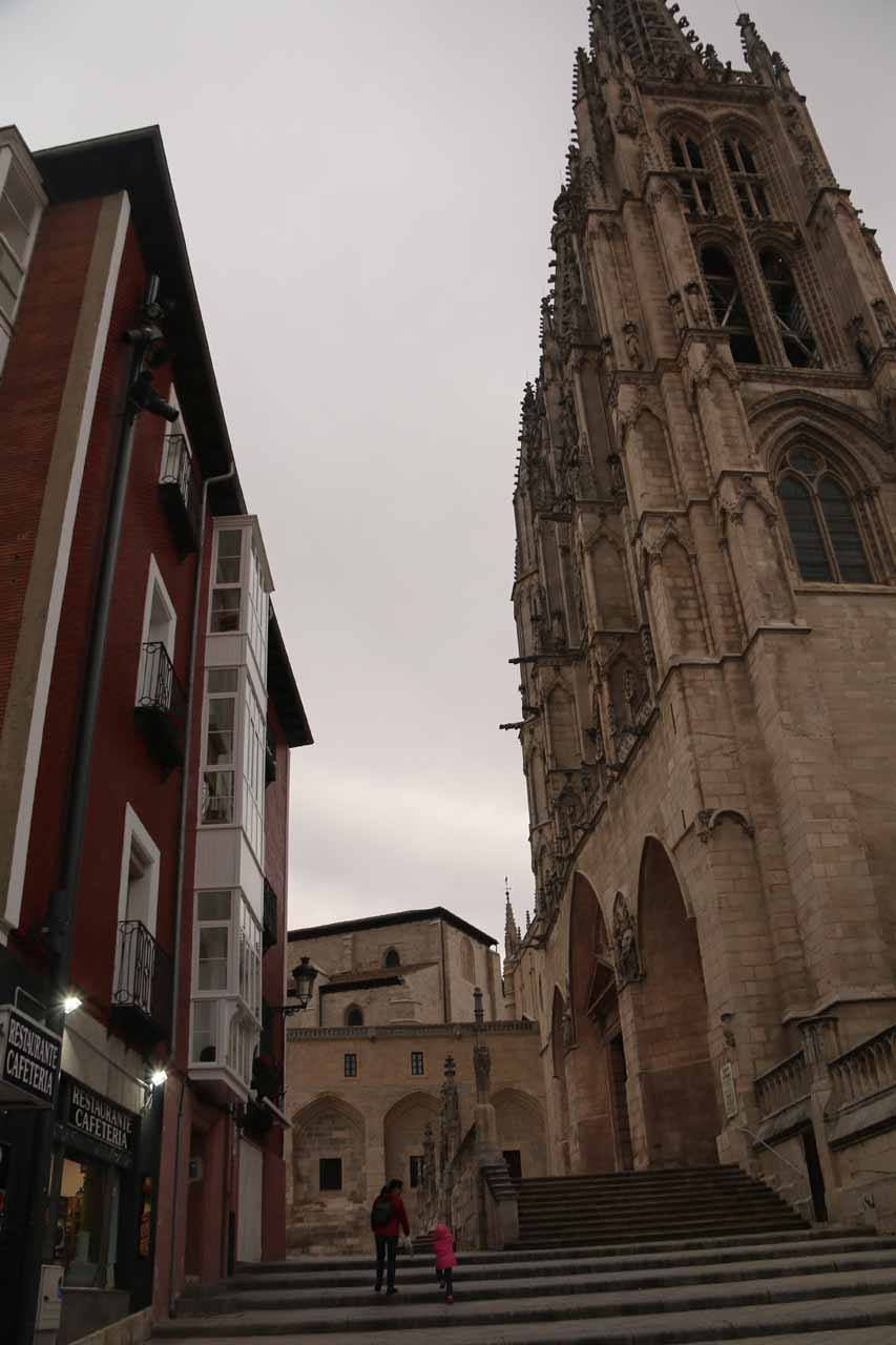 Julie and Tahia walking up the steps by the Cathedral in Burgos towards our room