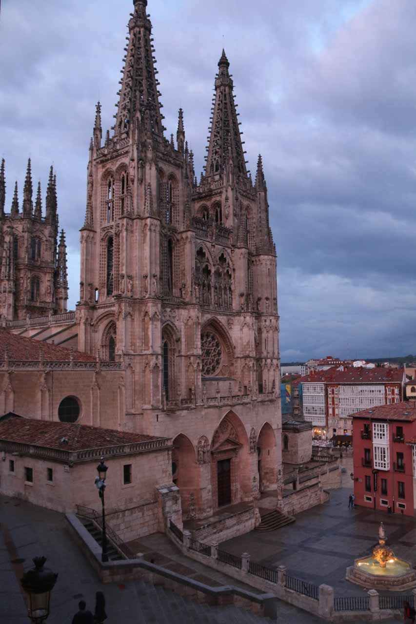 Twilight view towards the Burgos Cathedral just as it was raining outside