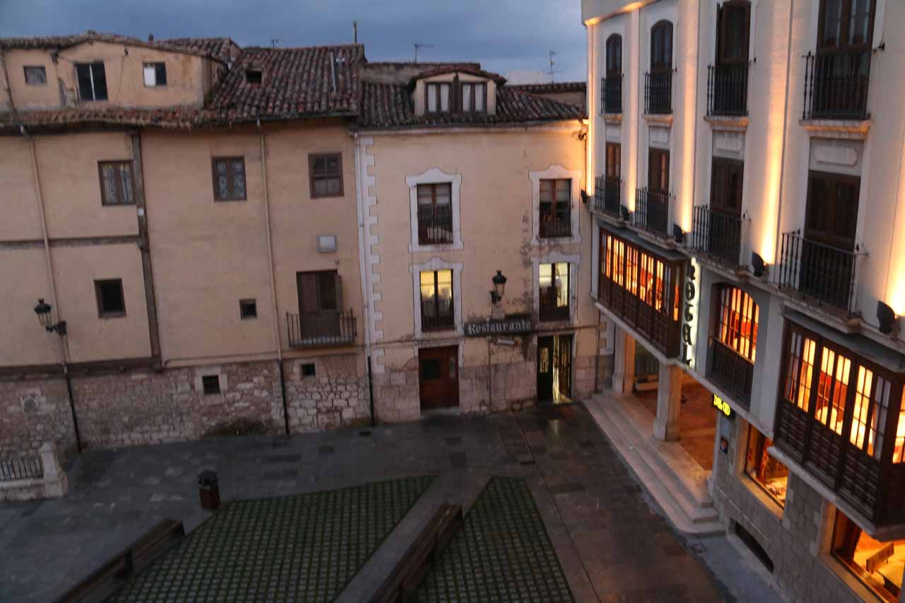 Looking from our room towards the Plaza de Santa Maria with impressive lighting