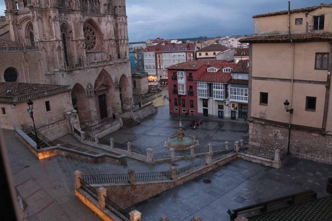 Looking from our room towards the Plaza de Santa Maria and the base of the Burgos Cathedral while it was raining