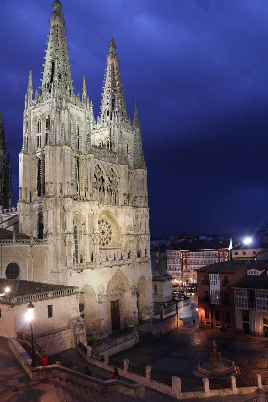 Night view towards the impressive Burgos Cathedral from our room