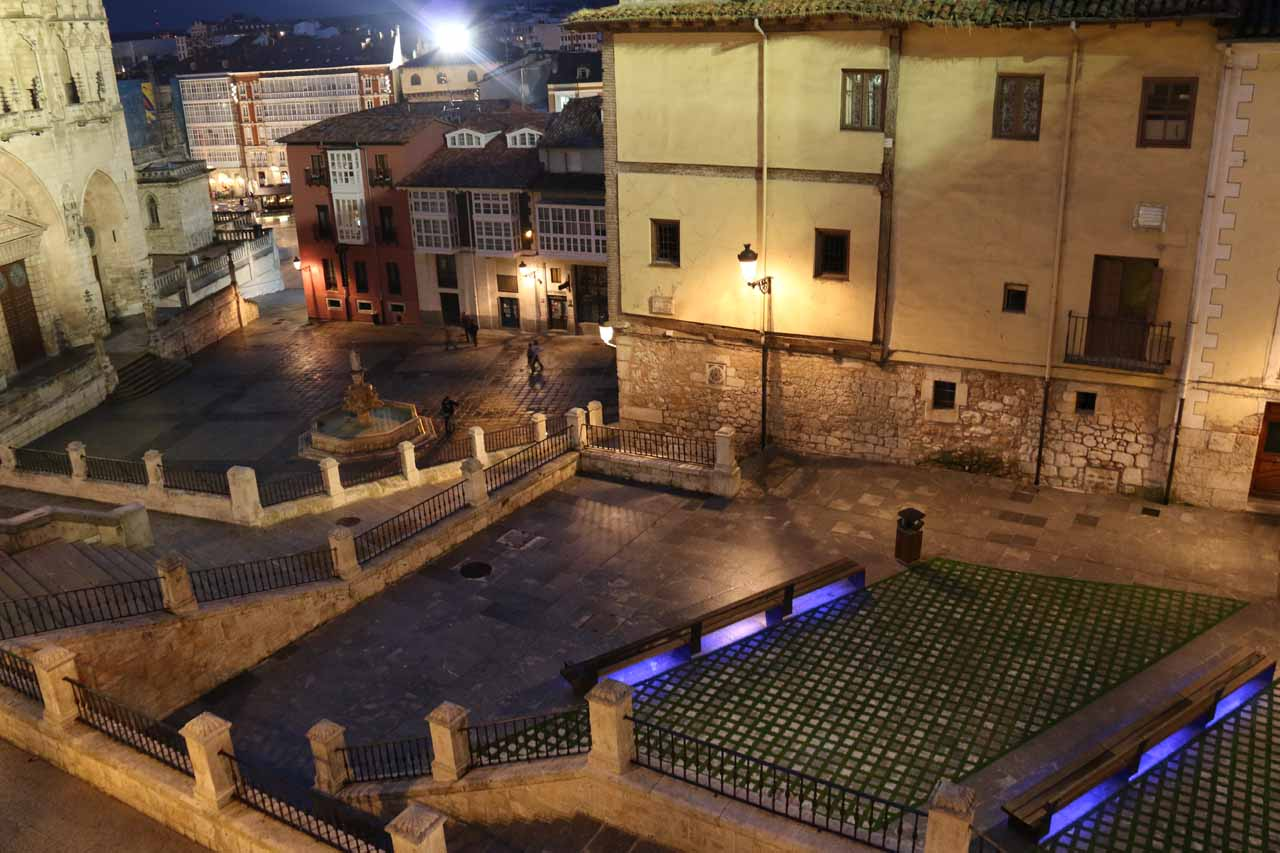 Night view from our room towards the Plaza de Santa Maria