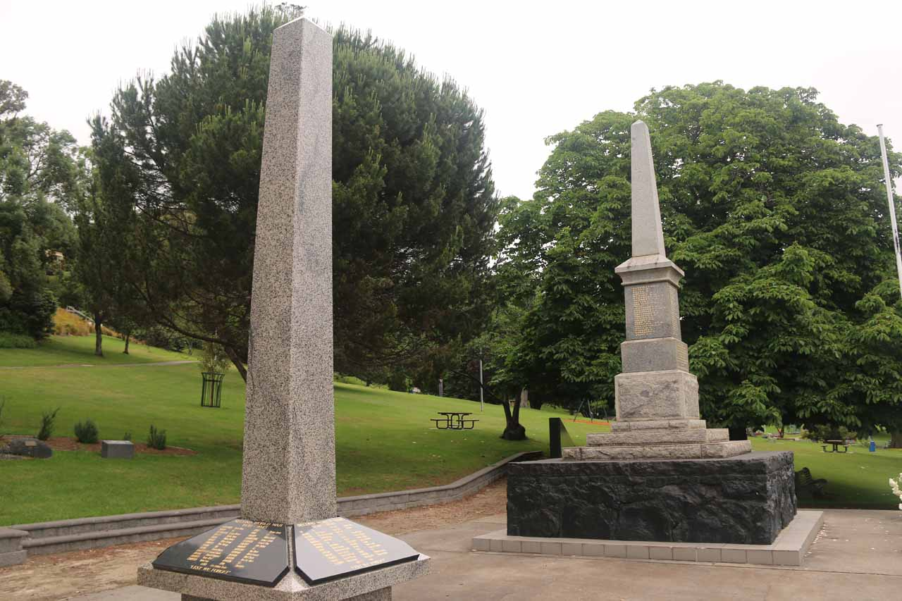 At the opposite end of Burnie Park were these obelisks which were war memorials