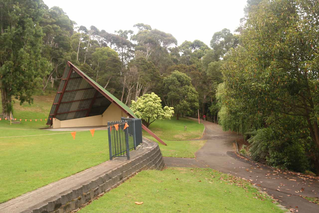The walking track to Oldaker Falls pretty much started behind this structure