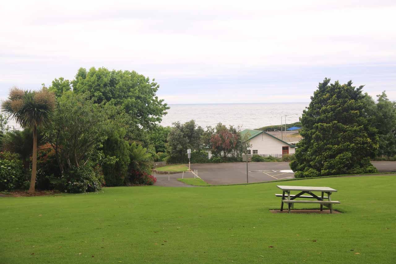 Looking back over the picnic area in Burnie Park towards the Bass Strait