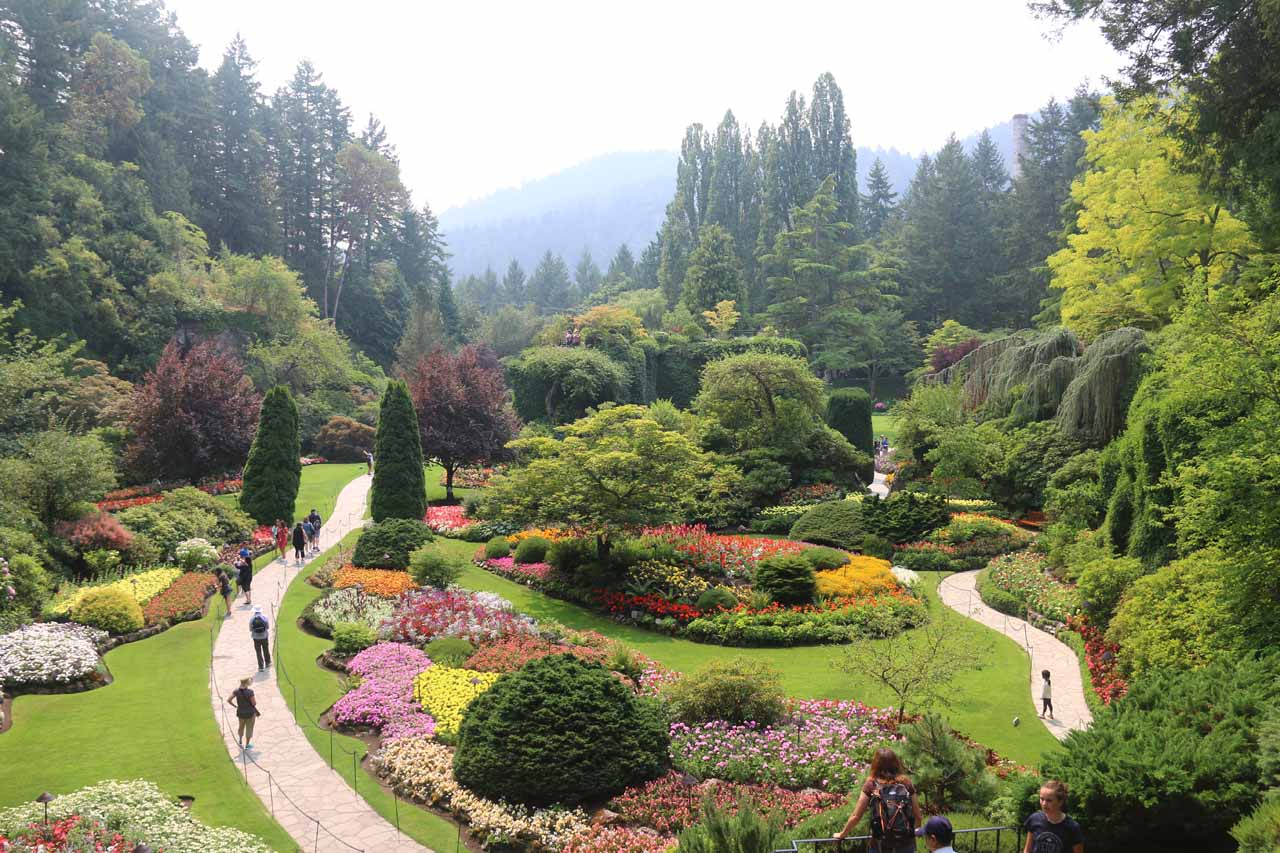 The famous Butchart Gardens was very close to Sidney (where the Schwartz Bay Ferry Terminal was), and it was on the way to Goldstream Provincial Park