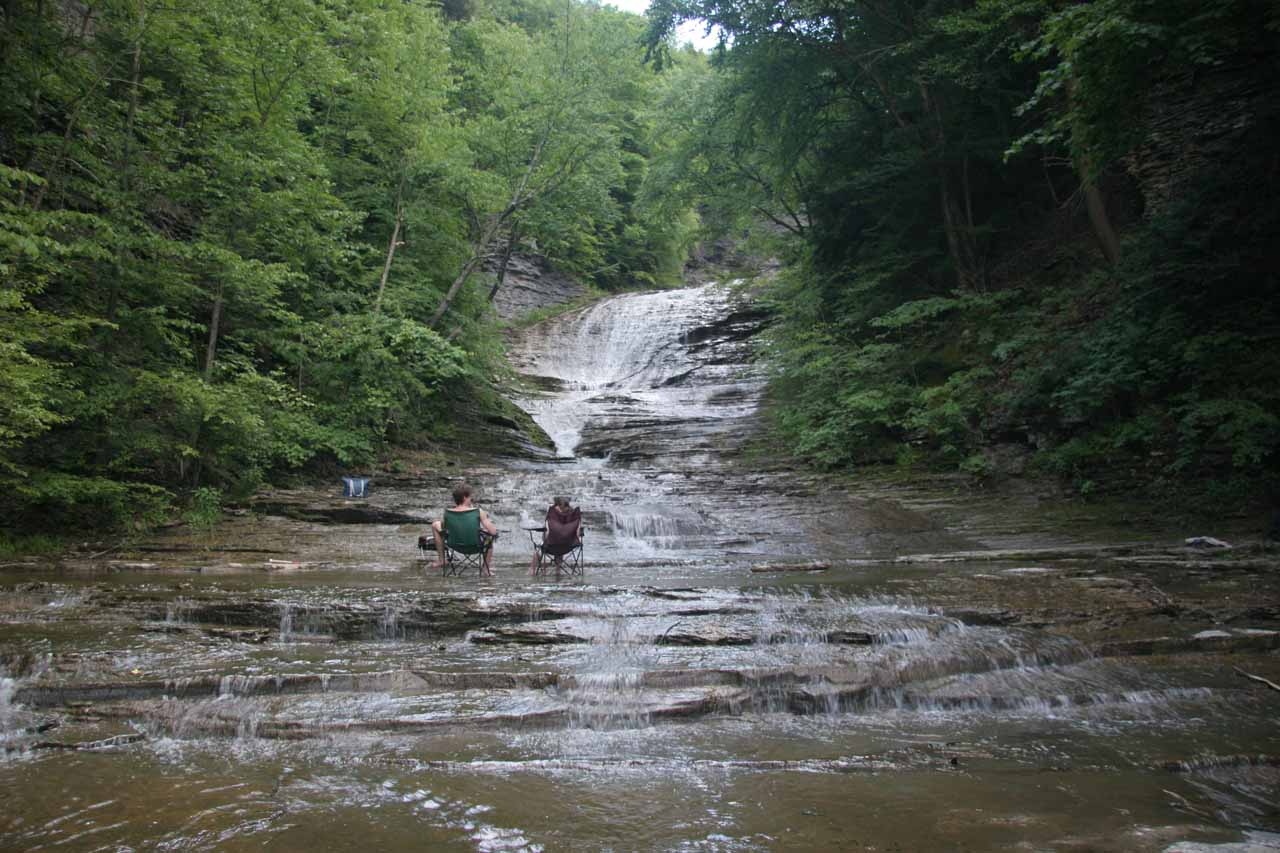 Context of the couple enjoying themselves in one of the upper Buttermilk Falls