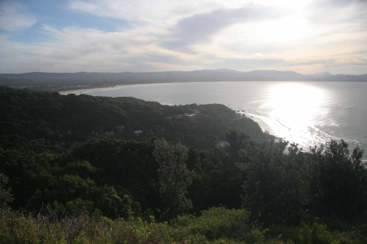 Looking towards the late afternoon sun over the Pacific from the Byron Bay Lighthouse