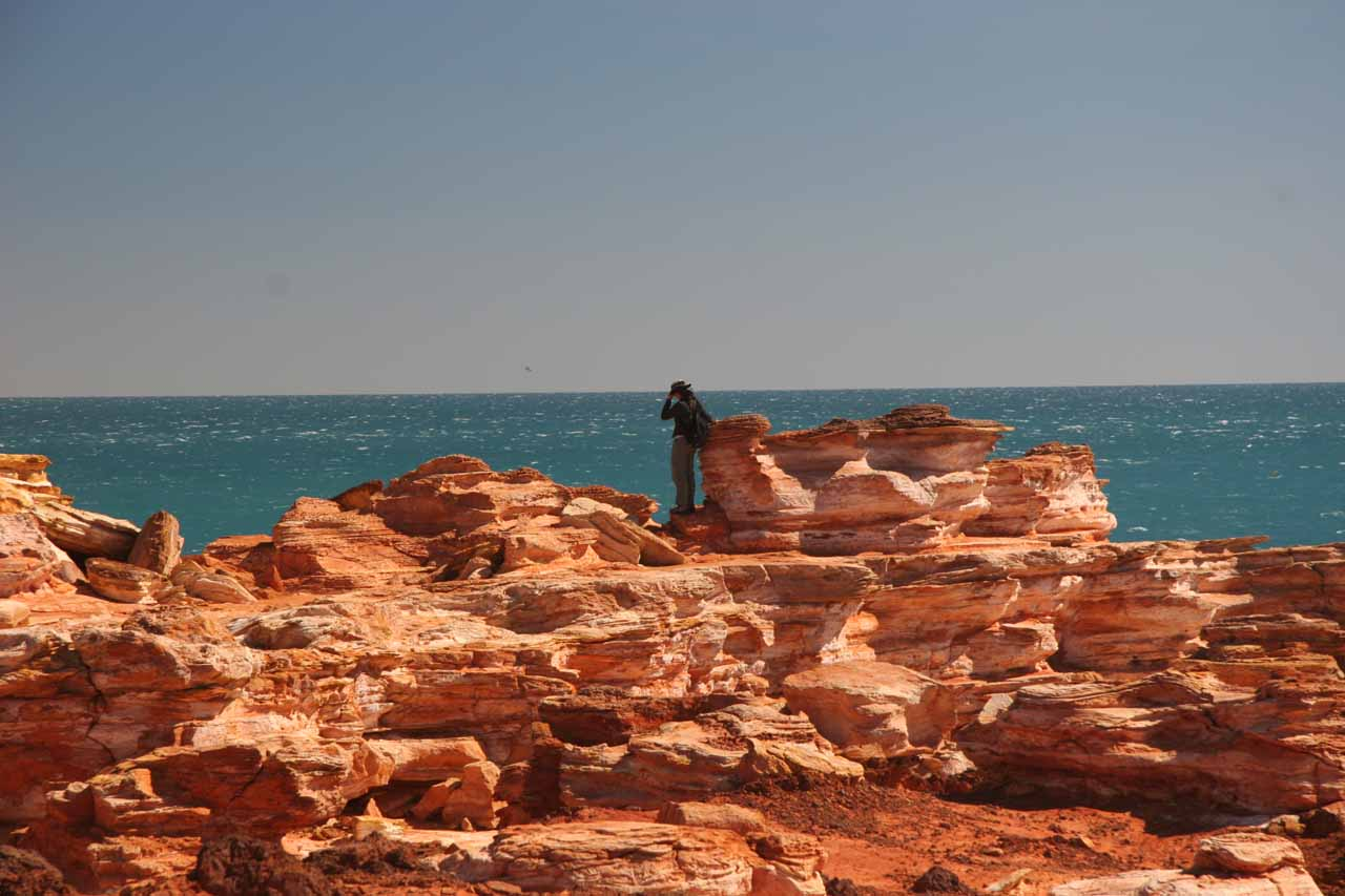 Julie amongst the formations at Cable Beach