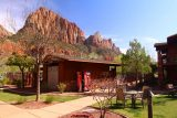 Cable_Mountain_Lodge_065_04042018 - Looking towards the swimming pool of the Cable Mountain Lodge complex backed by tall sandstone cliffs