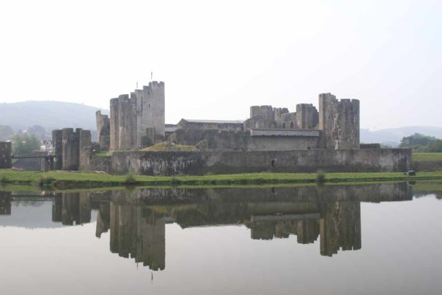 Caerphilly_Castle_195_09062014 - A short distance north of Cardiff was the Caerphilly Castle, which was a place where we were able to see the impressive preserved castle reflected in its calm moat