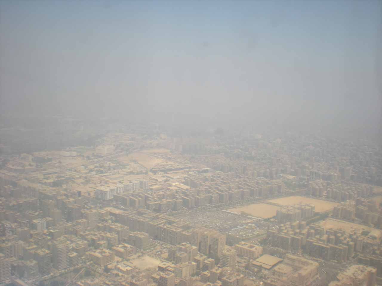 Re-entering smoggy Cairo airspace
