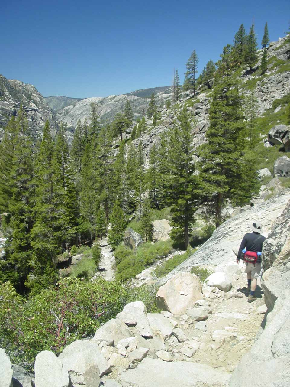 Descending the trail beyond California Falls