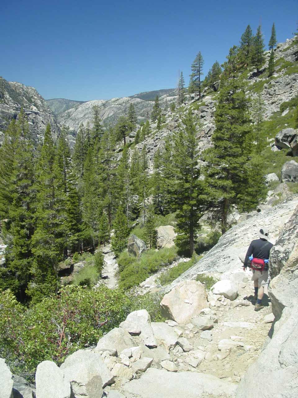 Descending the trail beyond California Falls