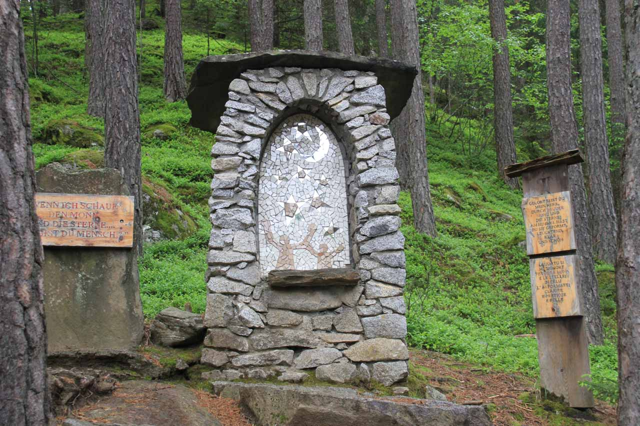 We noticed this interesting landmark or memorial not far before the second waterfall