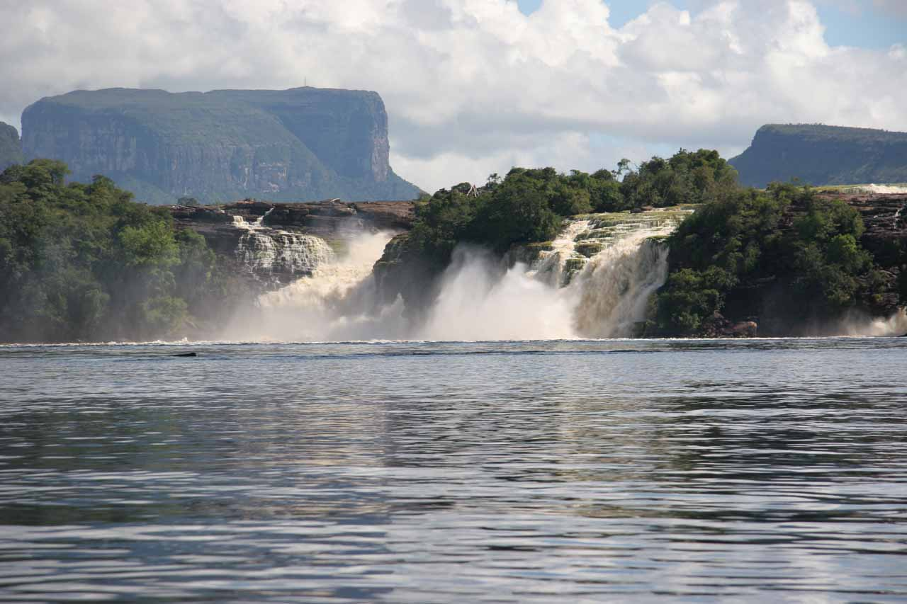 The Canaima Lagoon Waterfalls as seen from its shores