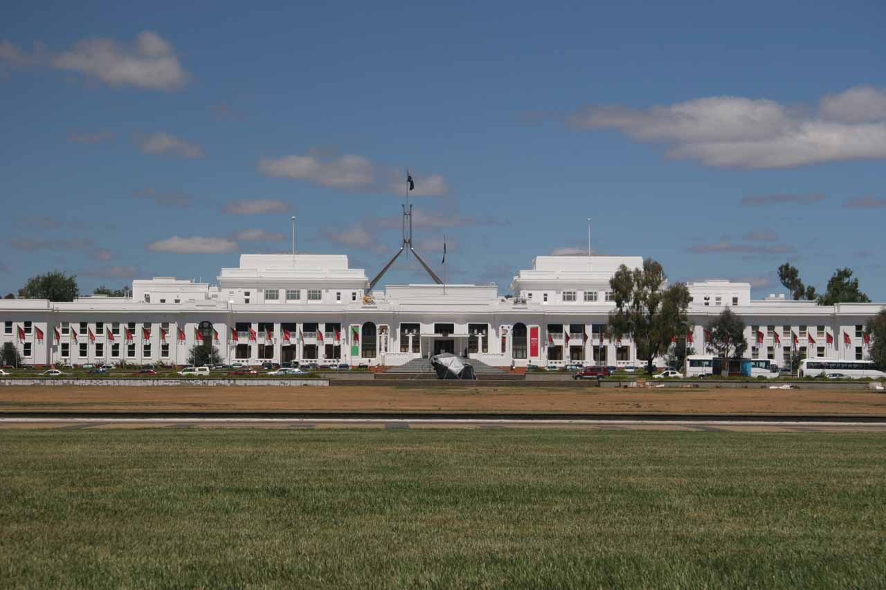 Distant view of the Parliament Building in Canberra