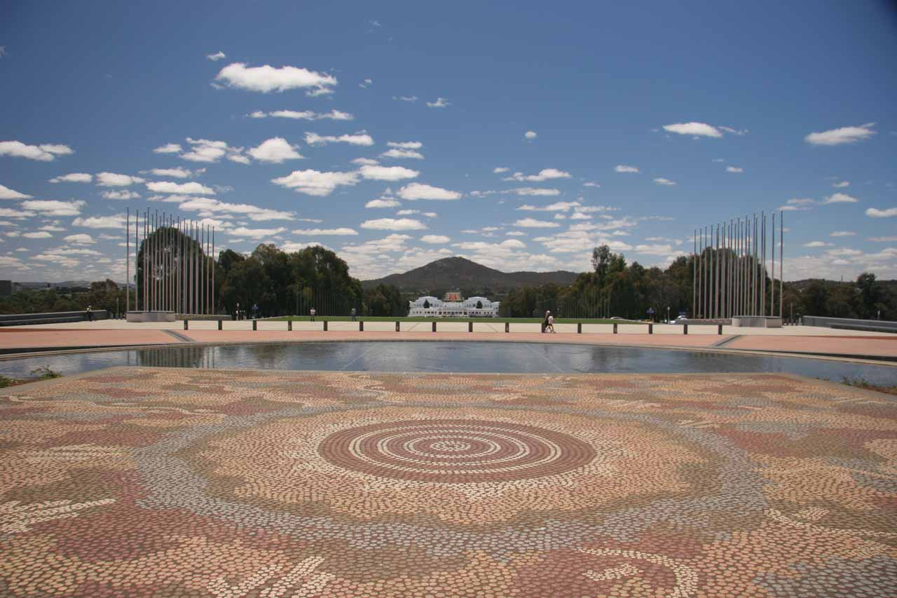 Looking in the other direction over the Aboriginal mosaic at the Parliament House
