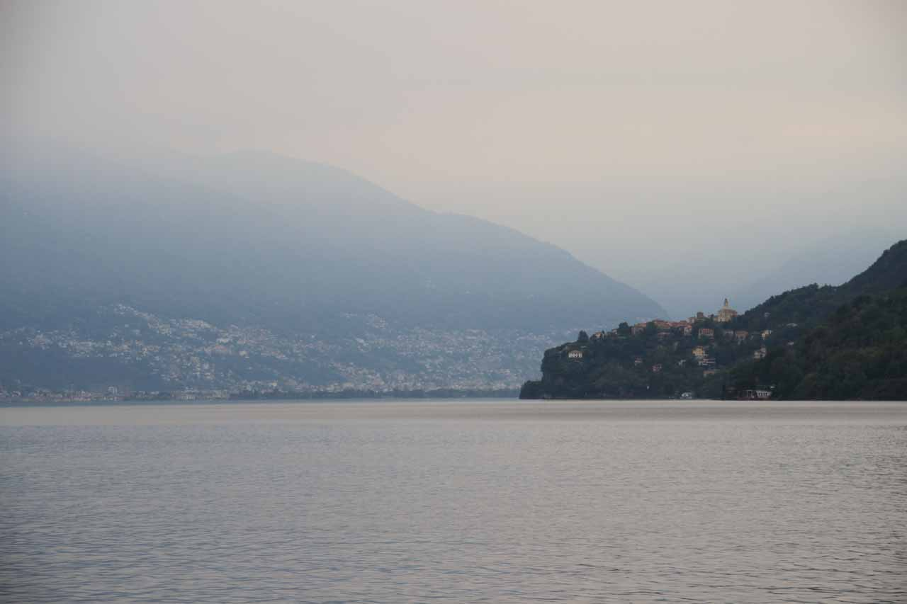 Limited views across Lake Maggiore given the overcast and hazy conditions