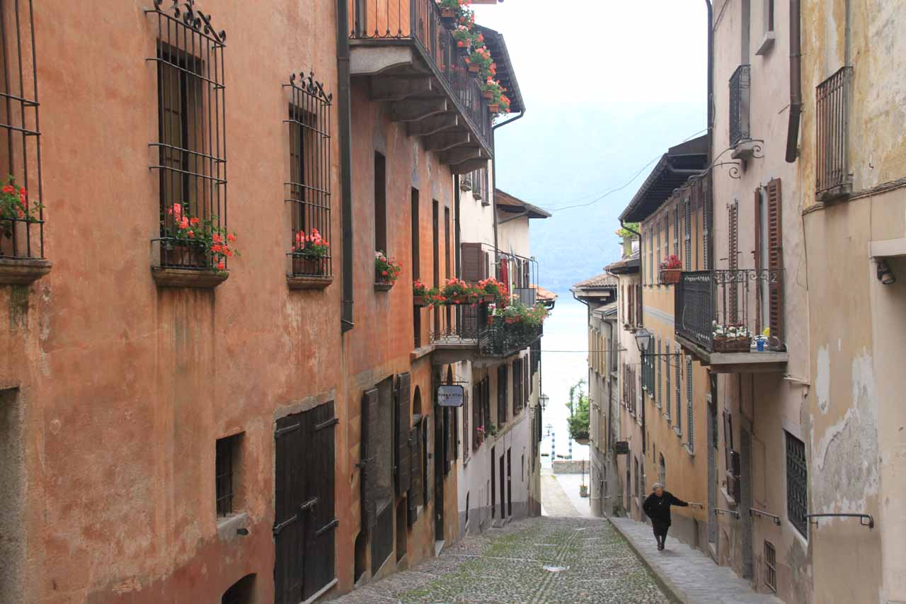 Walking some of the charming cobblestone streets of Cannobio