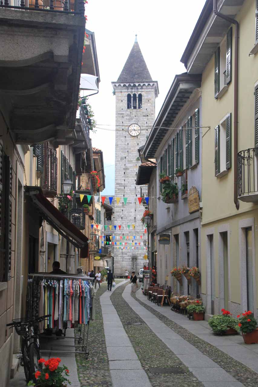 Looking back at the clock tower of Cannobio as we went past the cobblestone road shared with cars