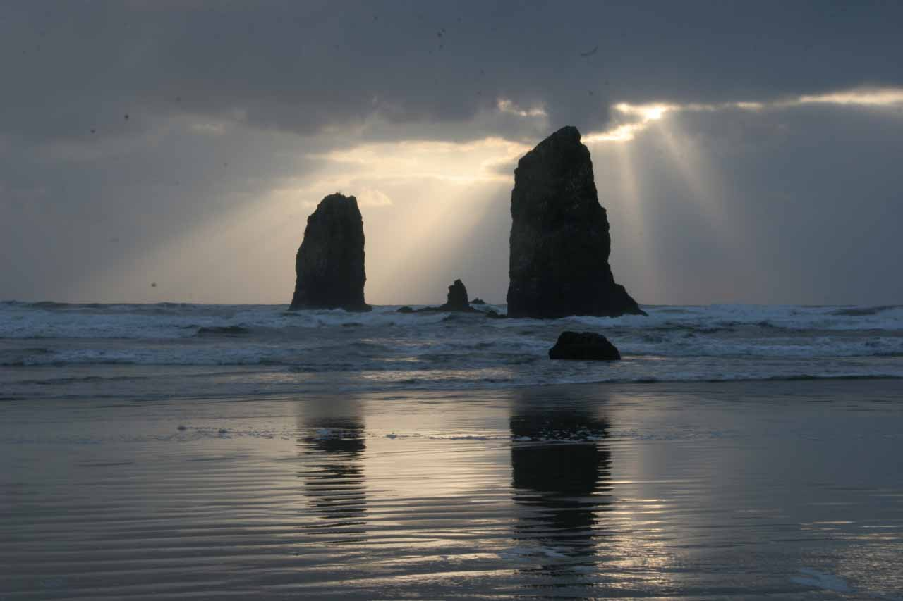 And going all the way west from Portland to the Oregon Coast yielded wildly beautiful scenery such as that of Cannon Beach shown here at sunset