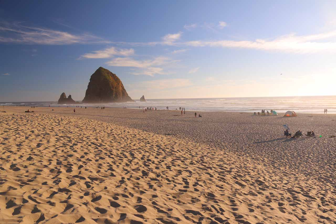 Back at Cannon Beach in beautiful weather