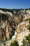 Canyon_281_08022020 - Portrait look at the depths of the Grand Canyon of the Yellowstone River with the sliver of Lower Falls up at the head of the canyon