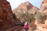 Canyon_Overlook_Trail_007_04042018 - The group walking past the traffic jam at the Zion-Mt Carmel Tunnel towards the Canyon Overlook Trailhead